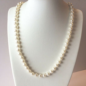 """Vintage 17"""" Knotted Pearl Necklace by Napier"""
